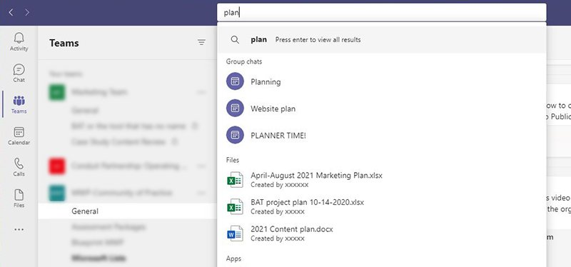 Searching for documents and references easier in Microsoft Teams