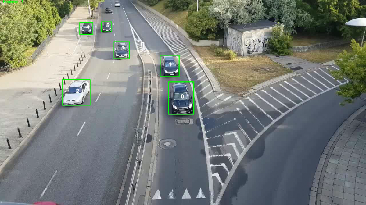 Cars being detected and assigned unique IDs